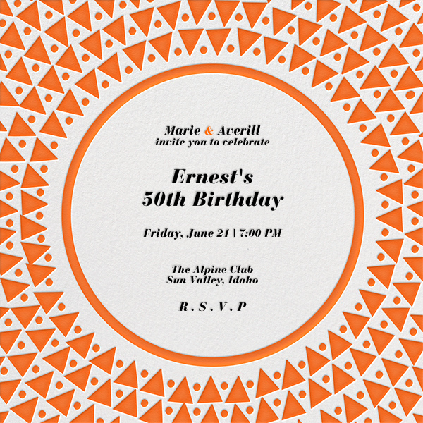 Radial Triangles - Orange - Paperless Post - Adult birthday