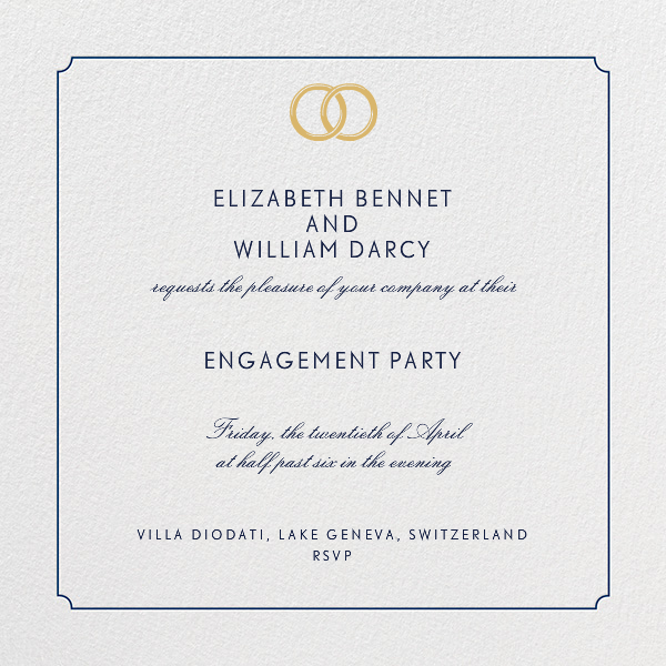 Indented Rounded Corners - Dark Blue - Paperless Post - Engagement party