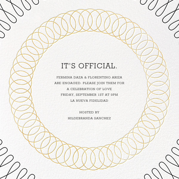 Spirals (Square) - Gold - Paperless Post - Engagement party