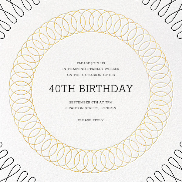 Spirals (Square) - Gold - Paperless Post - Adult birthday