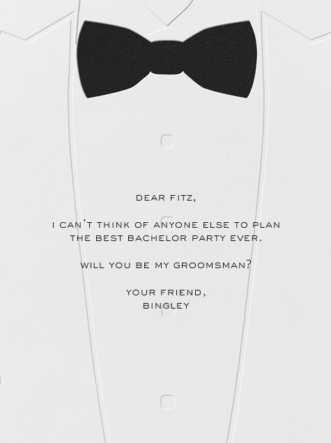 White Tuxedo - Paperless Post - Wedding party requests