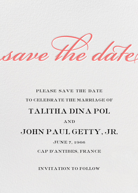Simple Script (Save the Date) - Coral - Paperless Post - Save the date
