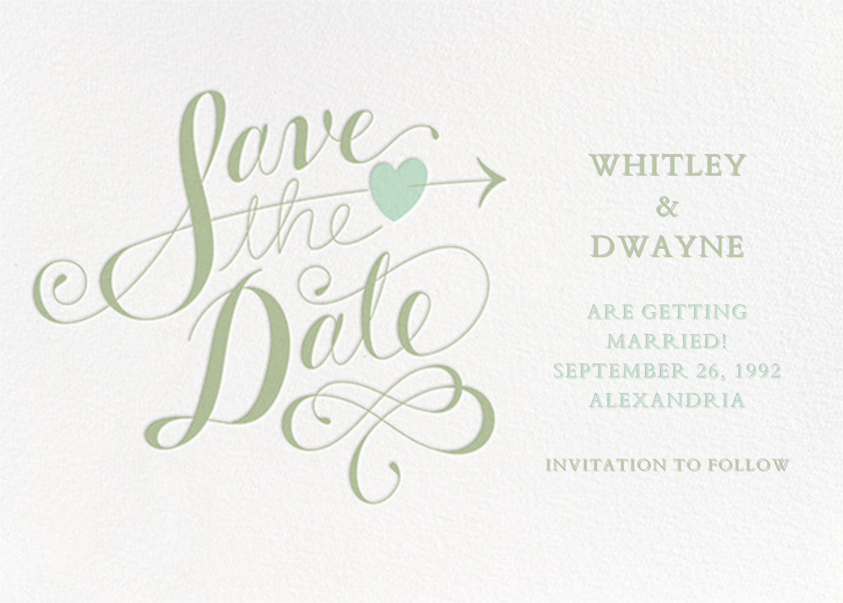 Script Heart - White/Sage - Paperless Post - Party save the dates