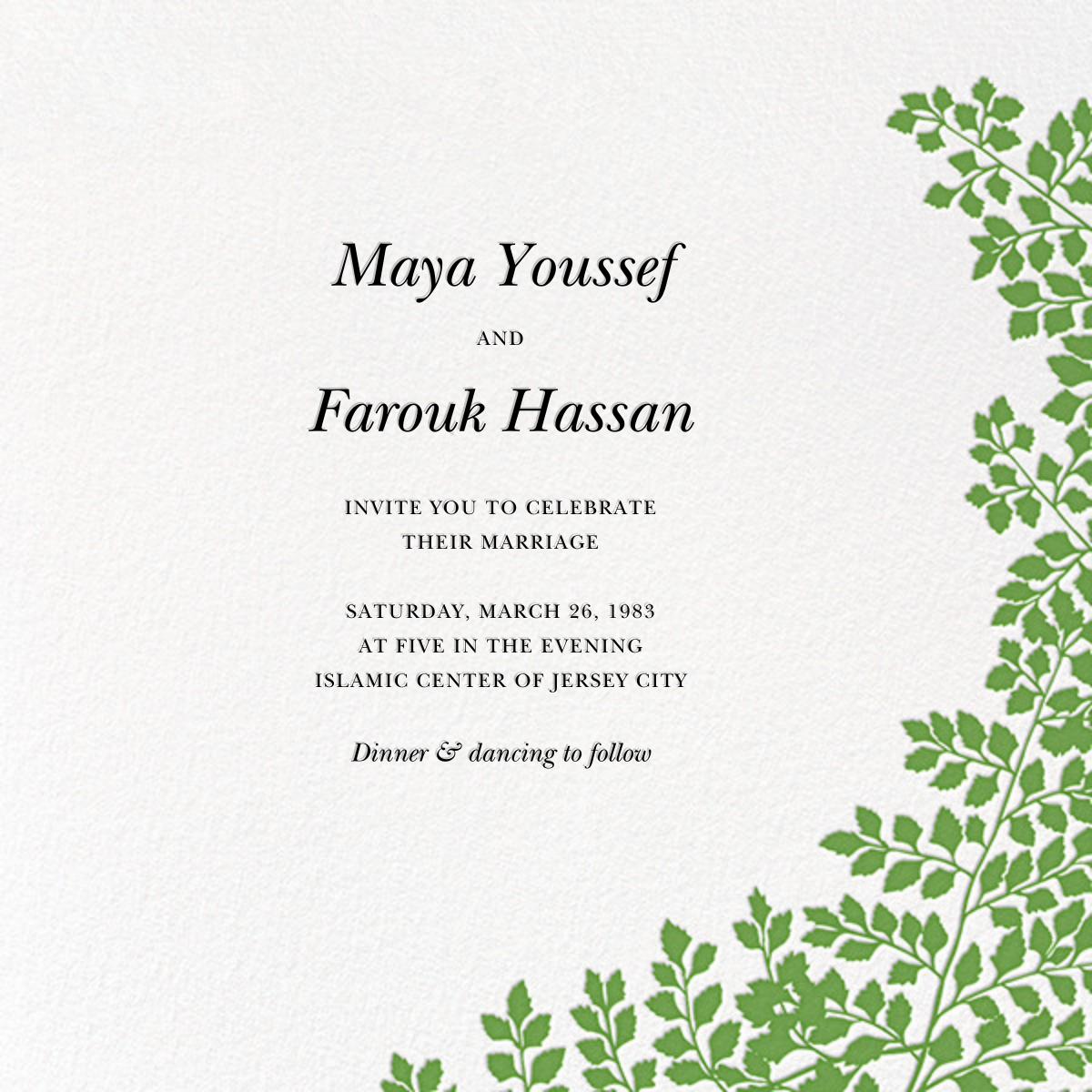Fern II (Invitation) - Green - Paperless Post - All