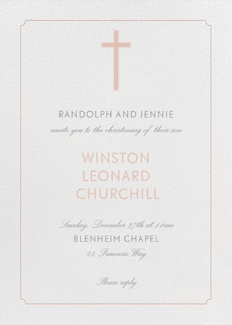 Indented Rounded Corners (Tall) - Antique Pink - Paperless Post - Baptism