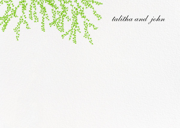 Forsythia (Stationery) - Leaf Green - Paperless Post - Personalized stationery