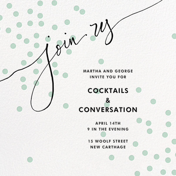 Join Us (Dots) - Mint/Black - Linda and Harriett - Cocktail party
