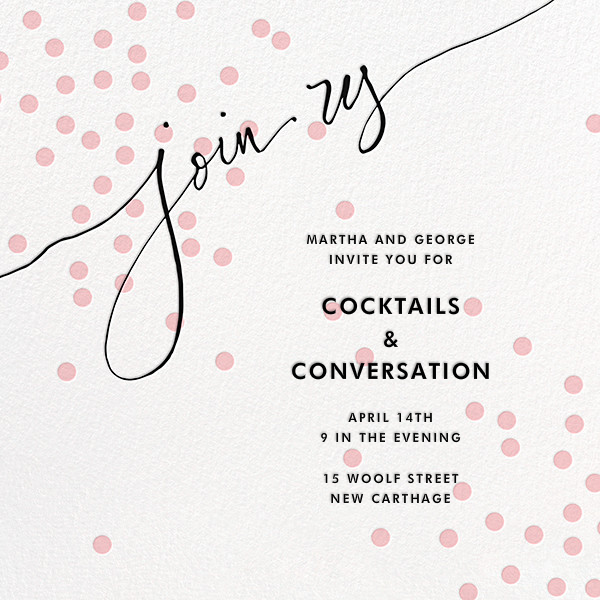 Join Us (Dots) - Pink/Black - Linda and Harriett - Cocktail party