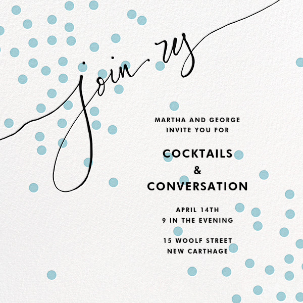 Join Us (Dots) - Blue/Black - Linda and Harriett - Cocktail party