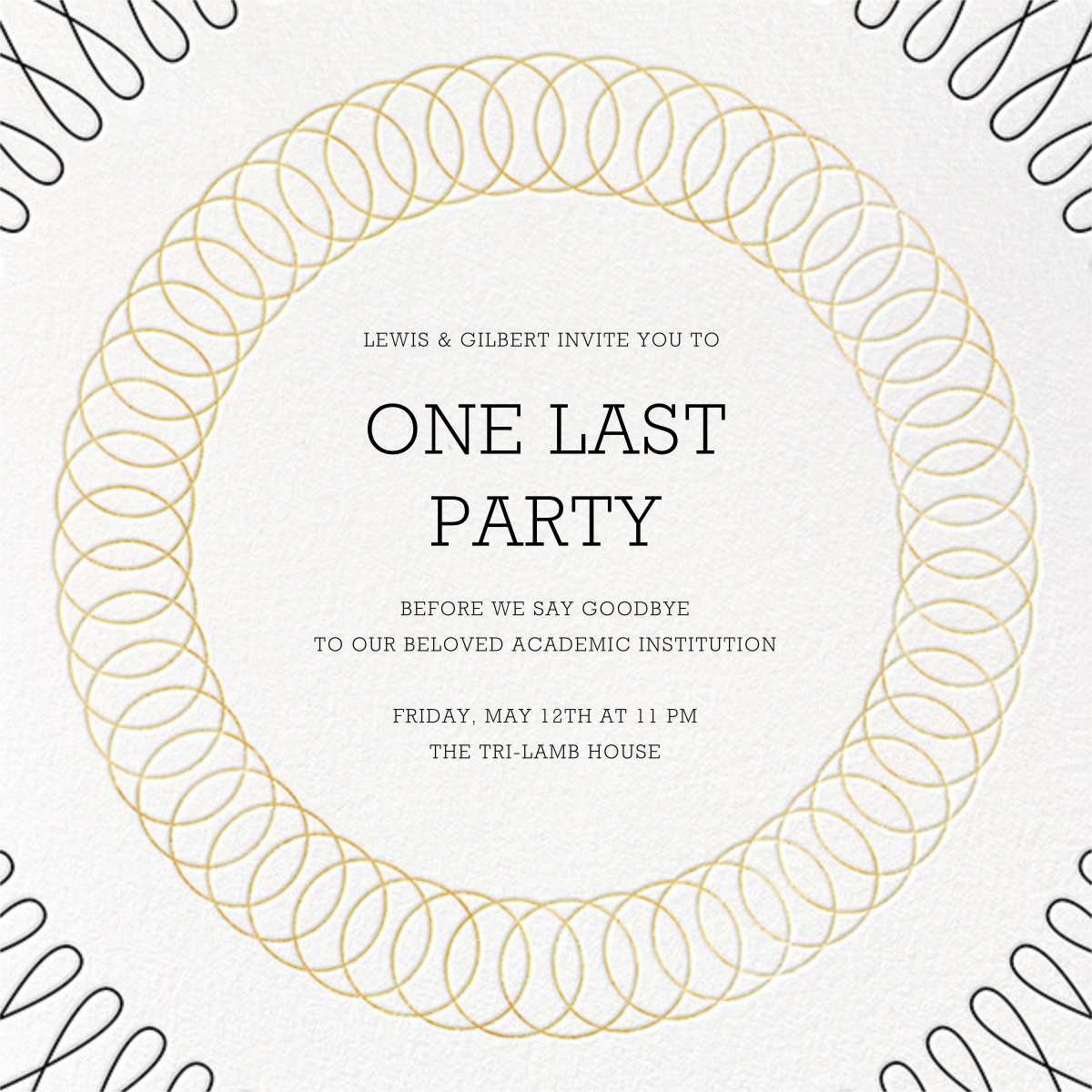 Spirals (Square) - Gold - Paperless Post - Graduation party