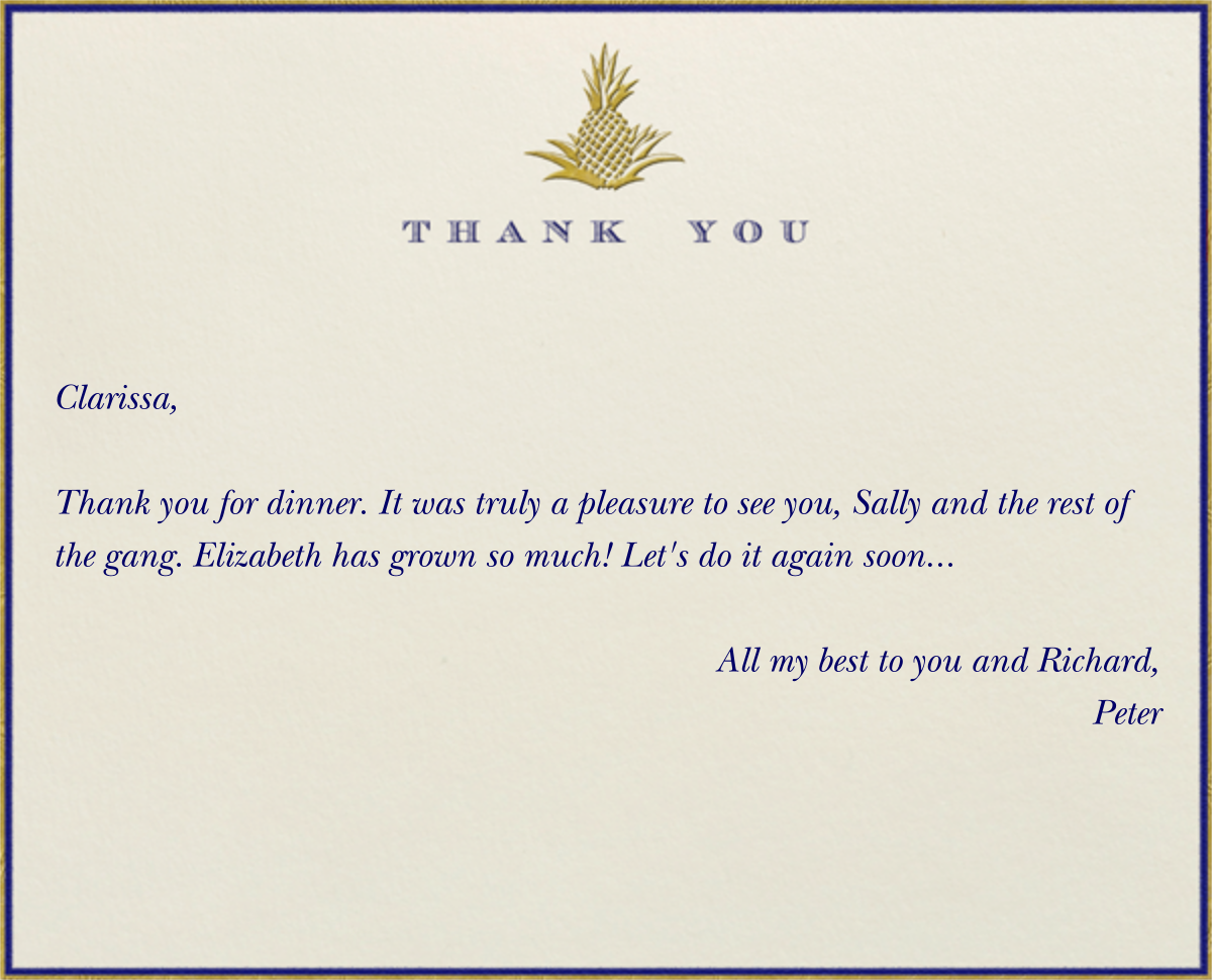 Pineapple Thank You (Blue) - Paperless Post - General