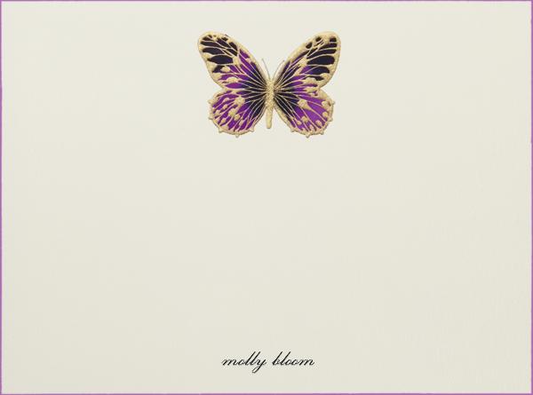 Hand Painted Butterfly (Stationery) - Purple - Bernard Maisner