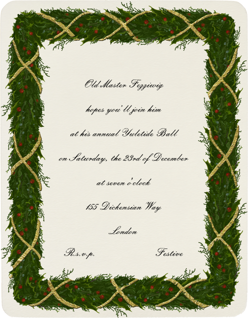 Holly Garland (Metallic Gold) - Paperless Post - Company holiday party