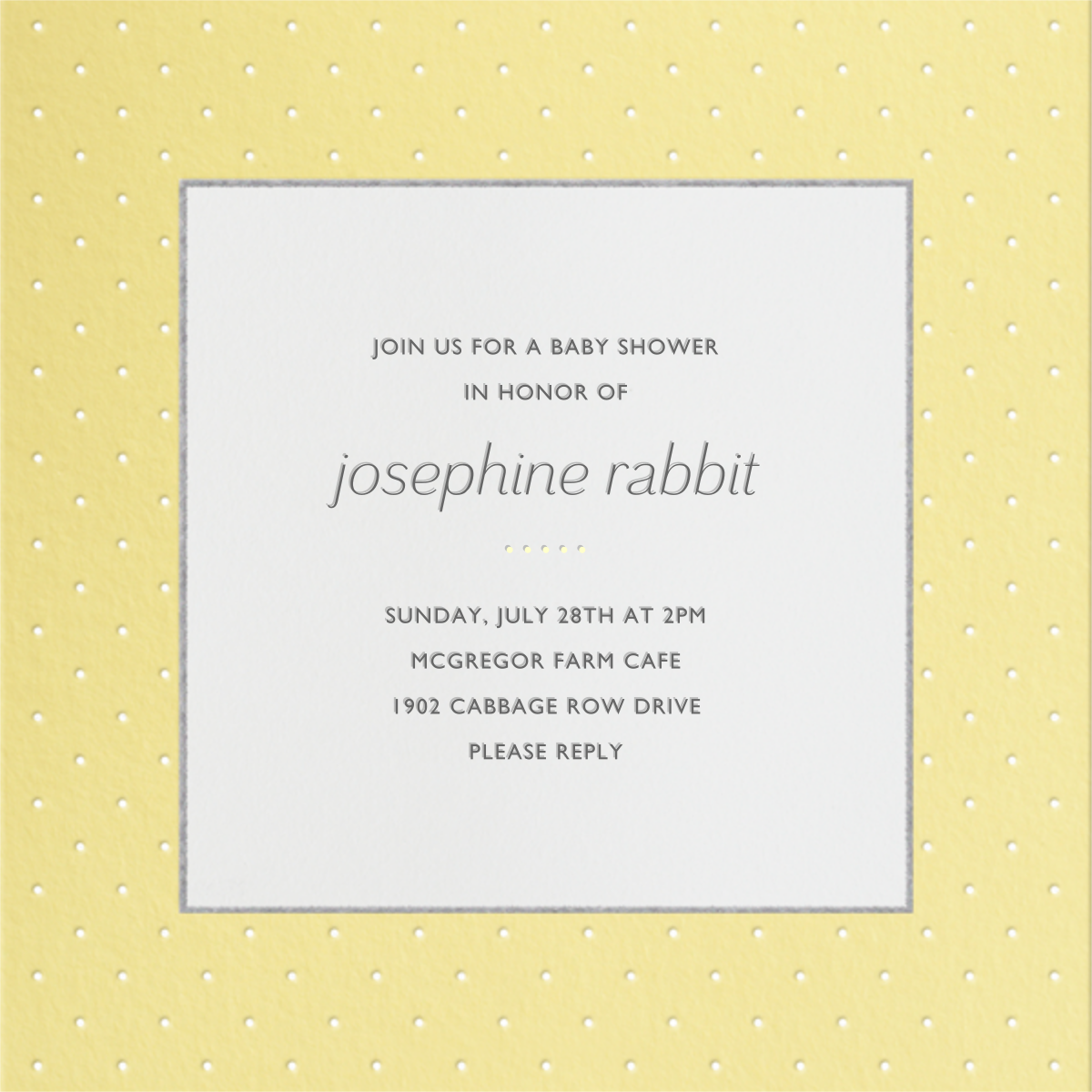 Airy Dots - Buttercup - Paperless Post - Baby shower