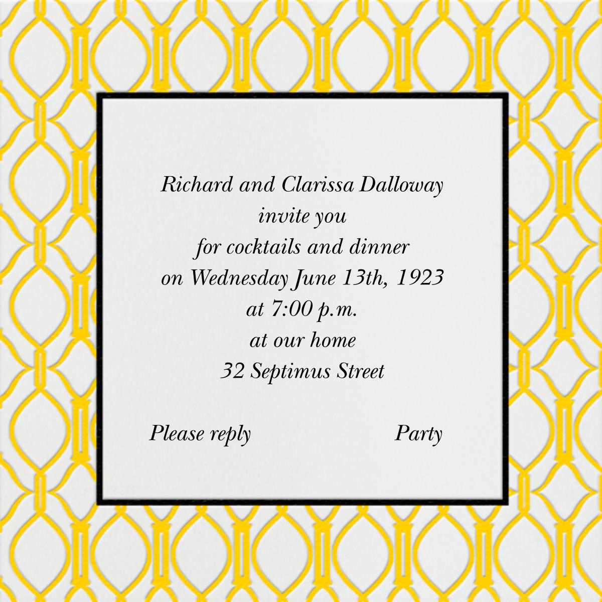 Cadogan Yellow Square - Paperless Post - General entertaining