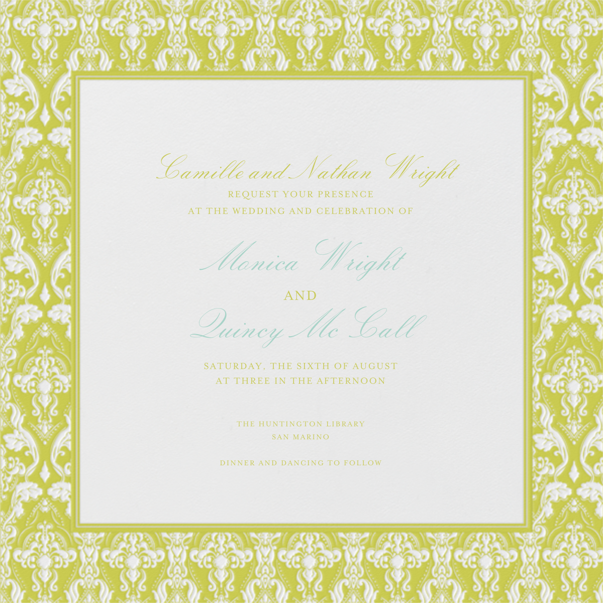 Damask - Ivory with Chartreuse (Border) - Paperless Post