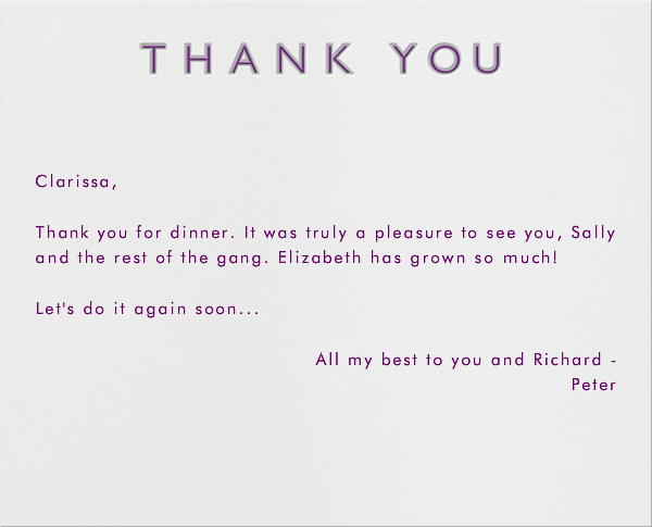 Double Thank You - Gray and Purple - Paperless Post - General