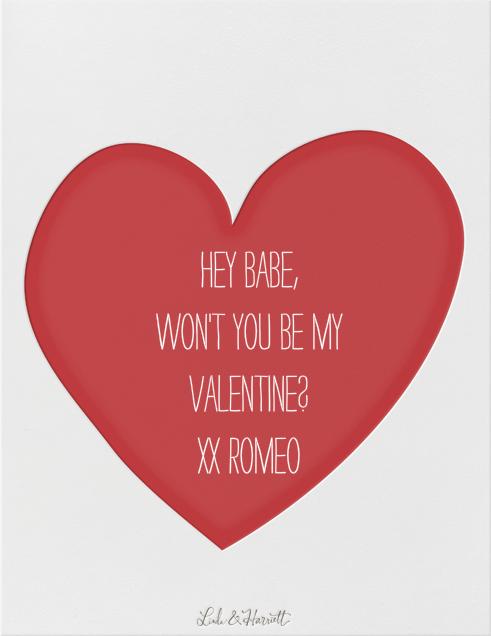 Hello Valentine - Pink - Linda and Harriett - Valentine's Day - card back