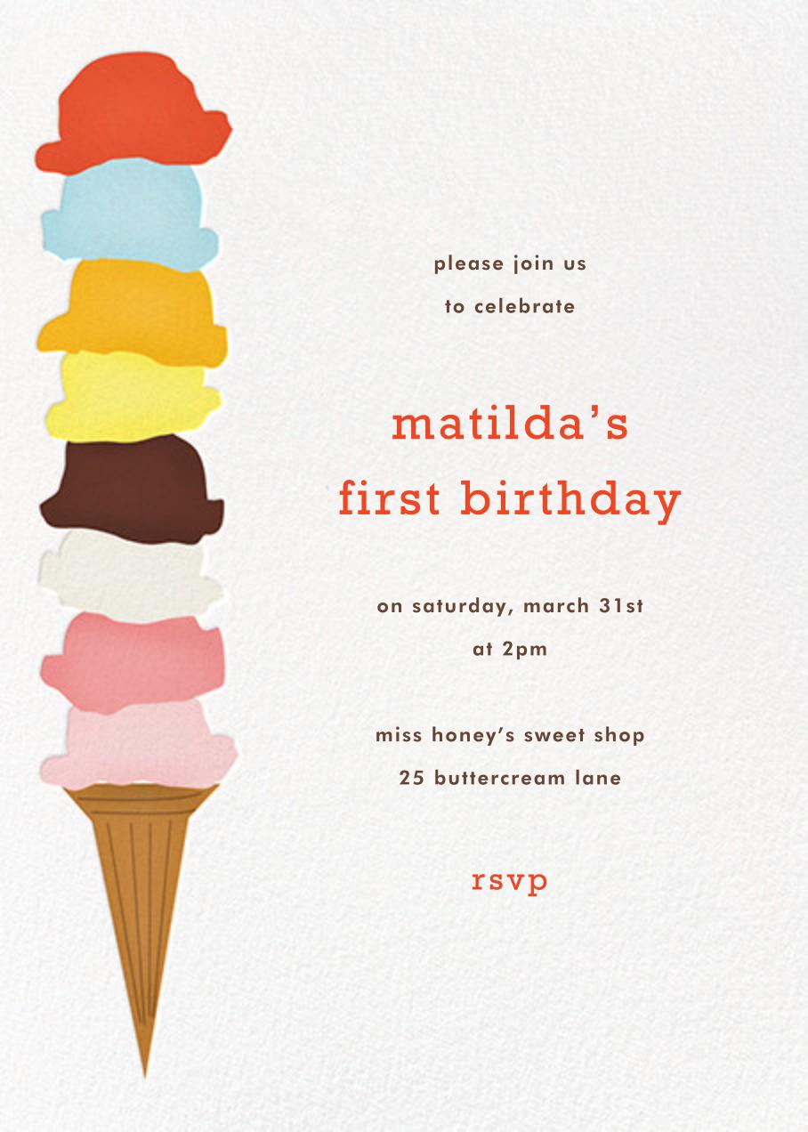 Ice Cream Cone - White - Paperless Post - Kids' birthday