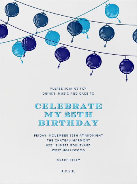 Lanterns - Blue - Paperless Post - Adult birthday