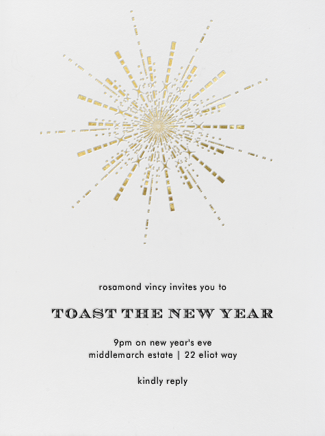 Ornate Fireworks (Ivory Gold) - Paperless Post - New Year's Eve