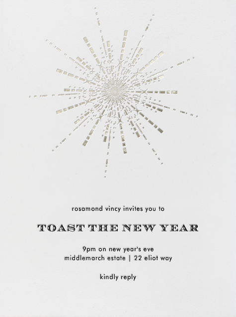 Ornate Fireworks (Ivory Silver) - Paperless Post - New Year's Eve