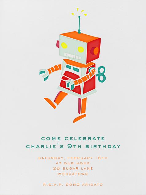 Robot - Orange - Paperless Post - Kids' birthday