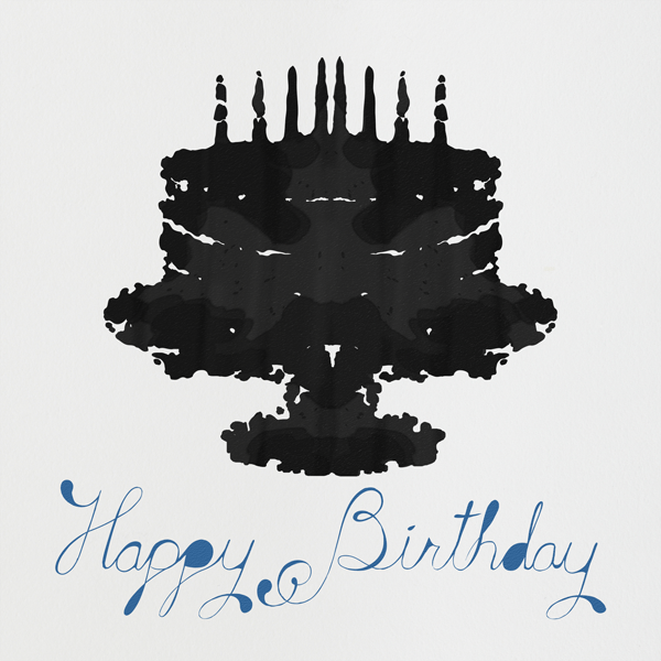 Rorschach Birthday Cake (Blue) - Paperless Post
