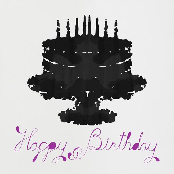 Rorschach Birthday Cake (Royal Purple) - Paperless Post