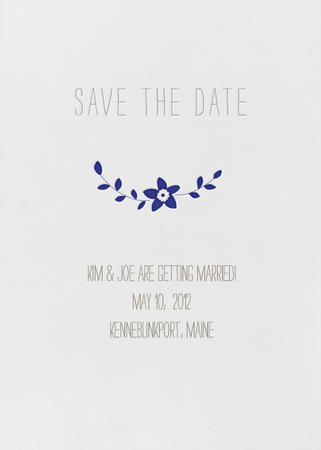 Vintage Flower Save the Date - Navy - Linda and Harriett - null