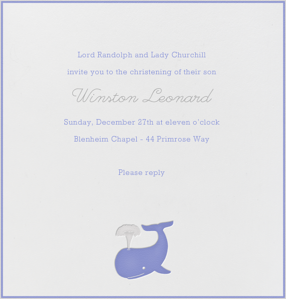 Whale (Blue) - Paperless Post - Baptism