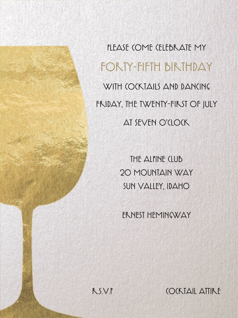 Wineglass Foil (Ivory) - Paperless Post