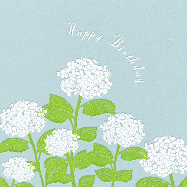 Hydrangea (Light Blue) - Paperless Post - Birthday