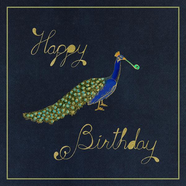 Peacock Birthday (Navy) - Paperless Post - Birthday