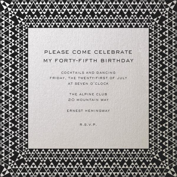 Triangle Deco Border - Paperless Post - Adult birthday