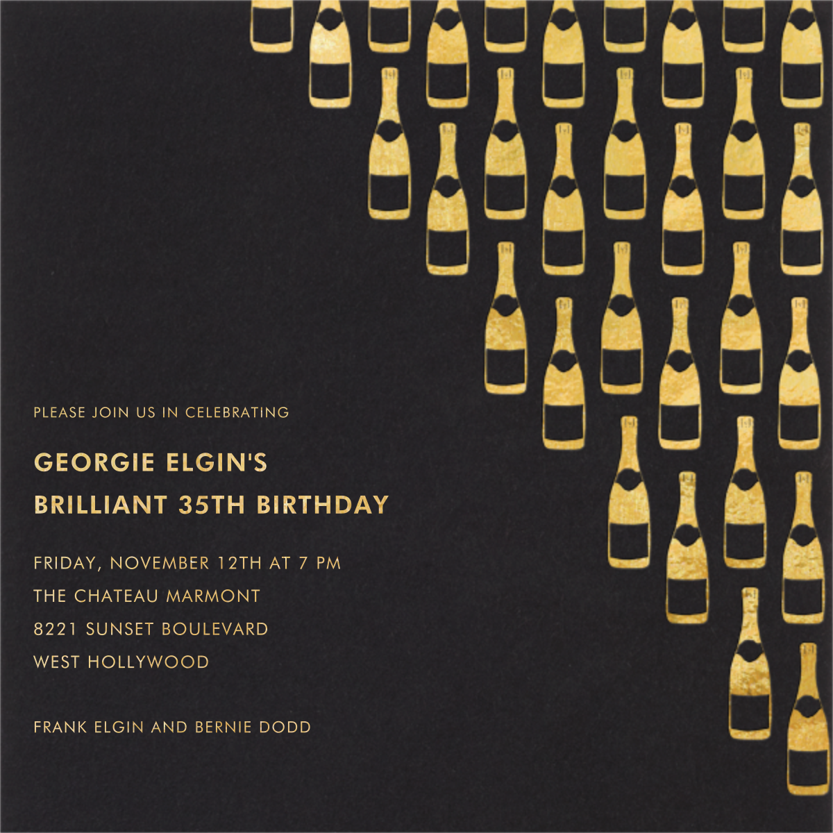 Champagne Gold (black) - Paperless Post - Adult birthday