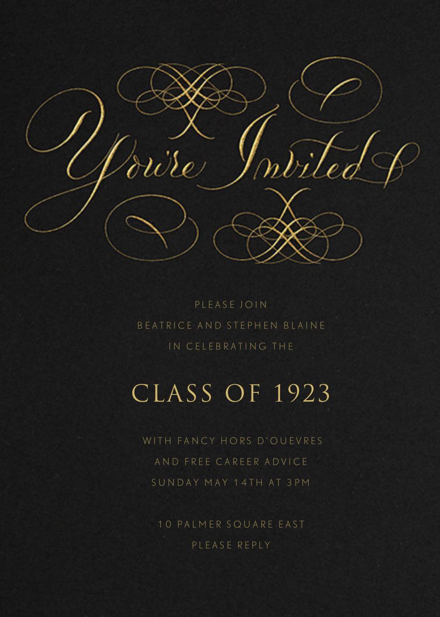 You're Invited - Black Flourished - Bernard Maisner - Graduation party