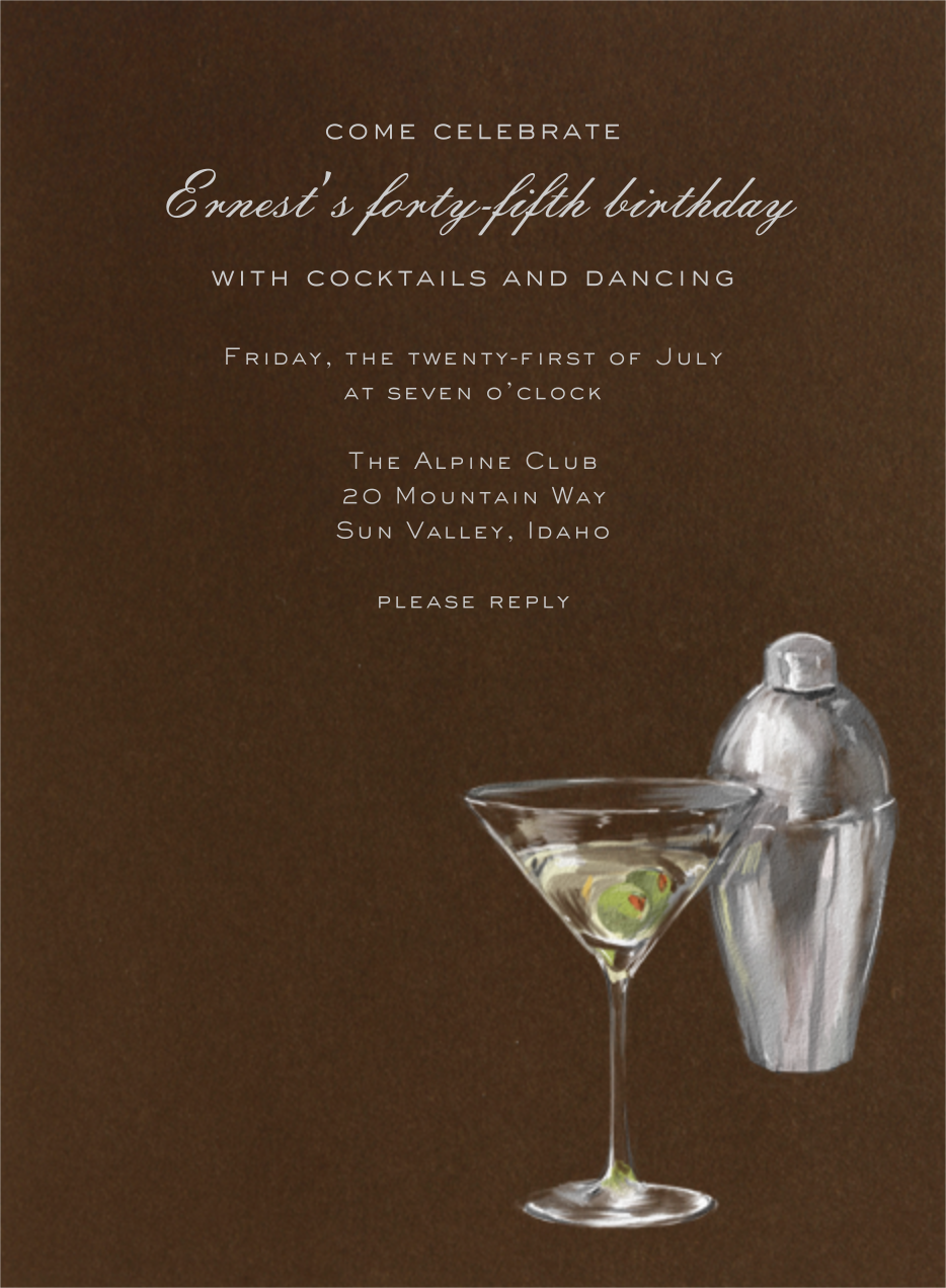 Martini and Shaker - Paperless Post - Adult birthday