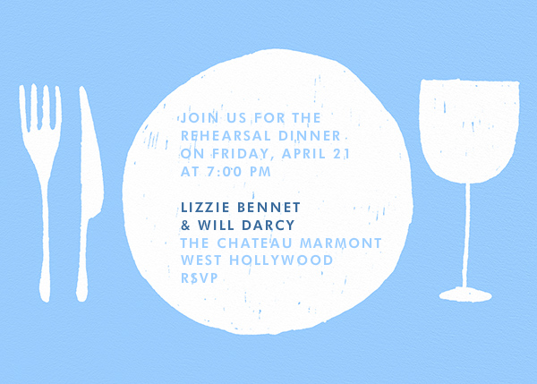 Place Setting - Light Blue and White - Paperless Post