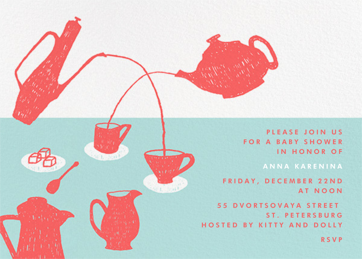 Pour Me A Cup - (Coral And Celadon) - Paperless Post - Baby shower