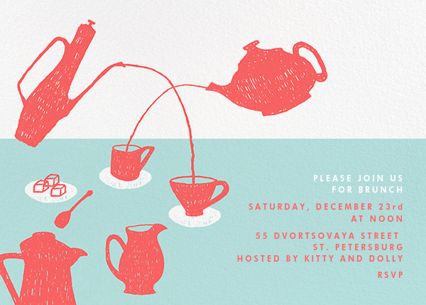 Pour Me A Cup - (Coral And Celadon) - Paperless Post - Wedding brunch