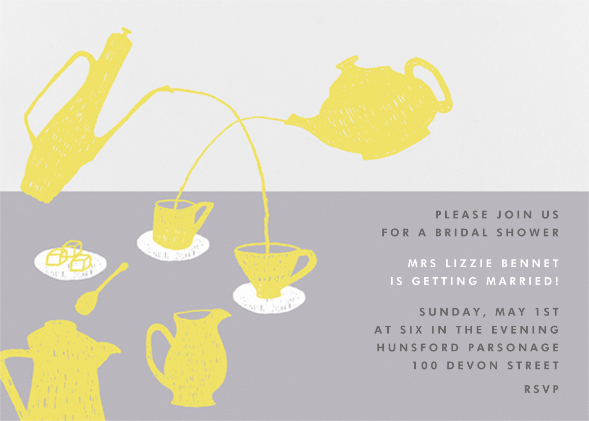 Pour Me A Cup - (Chartreuse And Gray) - Paperless Post - Bridal shower