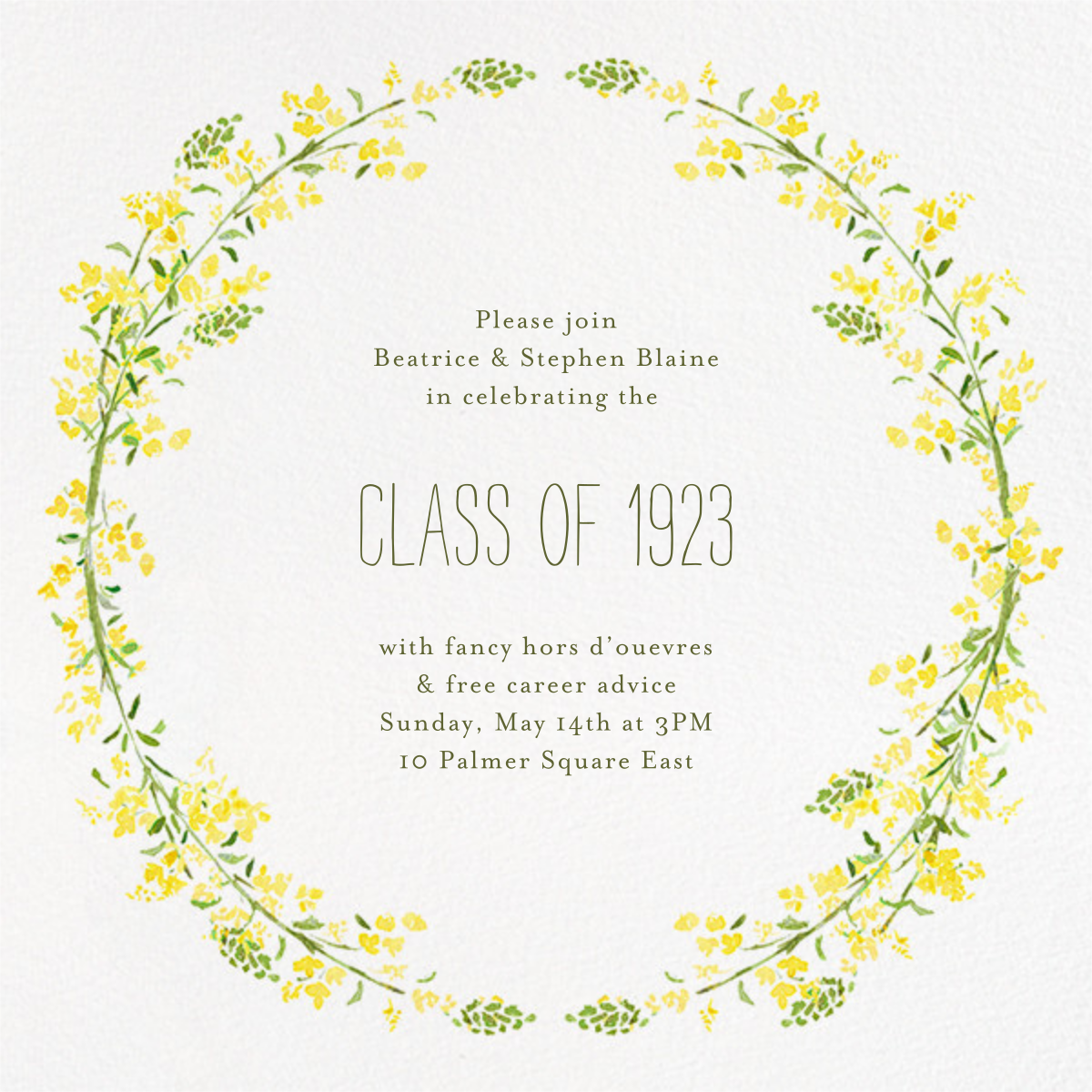 Heathers (Square) - Yellow - Paperless Post - Graduation party