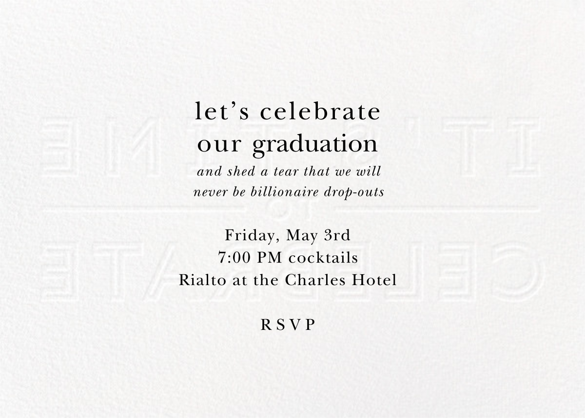It's Time To Celebrate - Silver - Paperless Post - Graduation party - card back