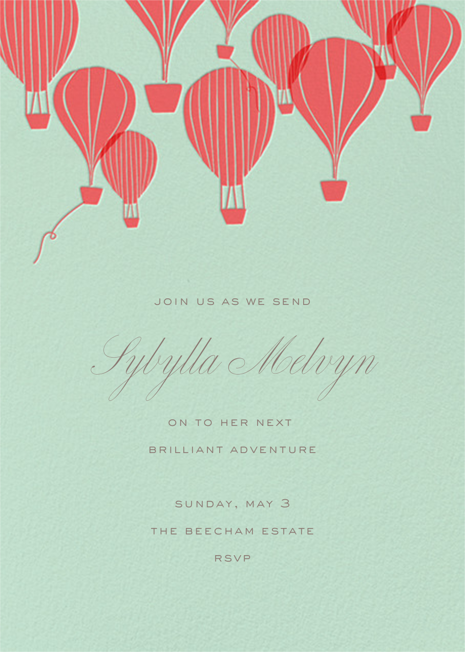 Hot Air Balloon Cluster - Mint/Coral - Paperless Post - Retirement party