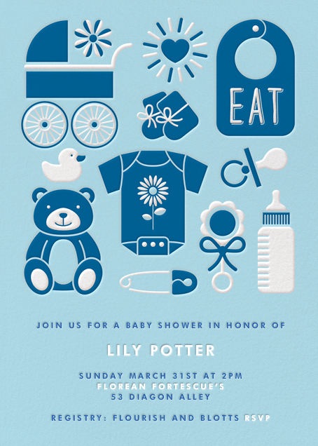 Baby Gear - Blue - Paperless Post - Baby shower