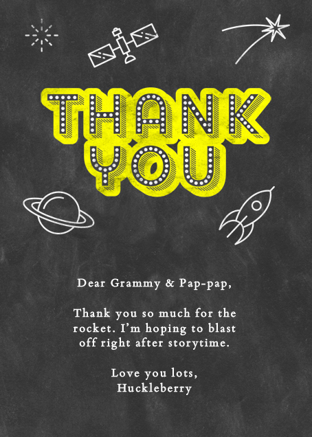 Space Chalk Thank You - Paperless Post - Thank you