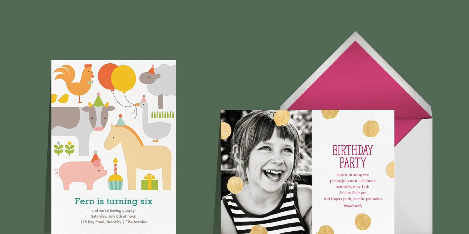 Online kids' birthday invitations