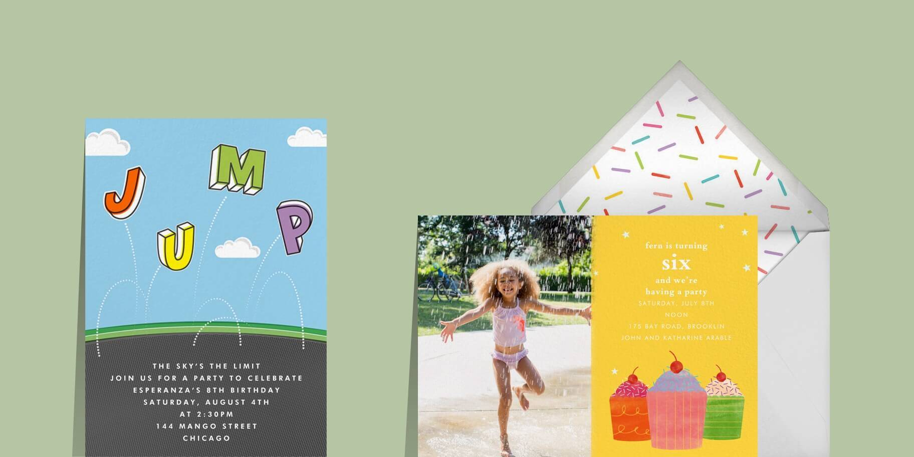 Kids' birthday invitations