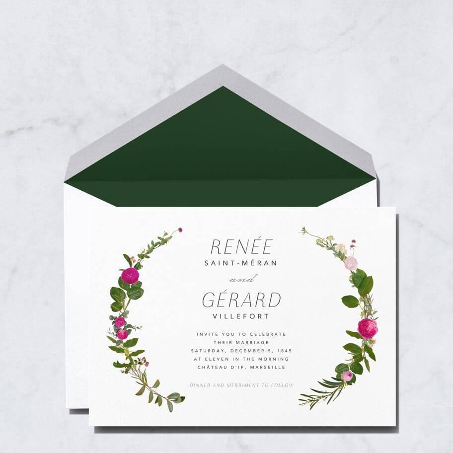 Printed wedding invitations